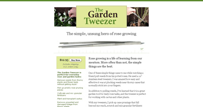 The Garden Tweezer Website Screenshot