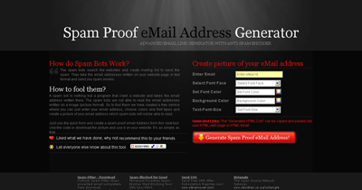 Spam Proof Email Address Generator Website Screenshot