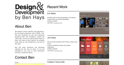 Ben Hays Website Screenshot