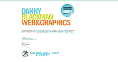 Danny Blackman Website Screenshot
