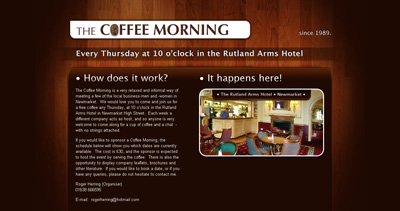 The Coffee Morning Website Screenshot