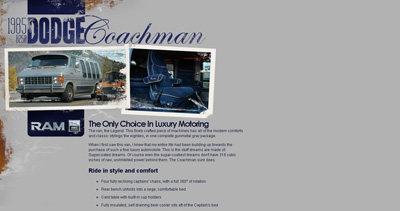 1985 Dodge Coachman Website Screenshot