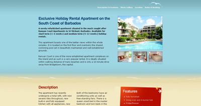 Barbados Holiday Rental Apartment Website Screenshot