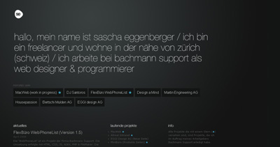Sascha Eggenberger Website Screenshot