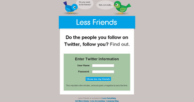 Less Friends Website Screenshot