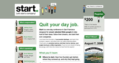 Start Conference Website Screenshot