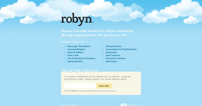 Robyn Website Screenshot