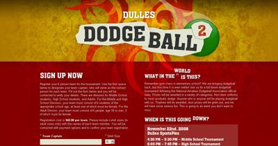 Dulles Dodgeball Website Screenshot