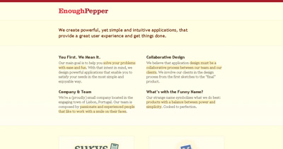 Enough Pepper Website Screenshot