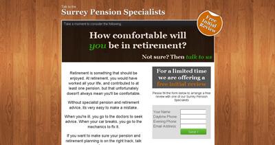 Surrey Pension Specialist Website Screenshot