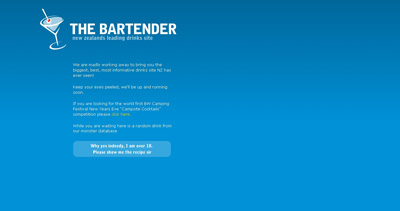 The Bartender Website Screenshot