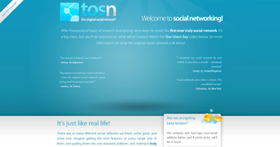 The Original Social Network™ Website Screenshot