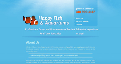 Happy Fish and Aquariums Website Screenshot