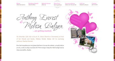 Anthony & Melissa are getting married! Website Screenshot