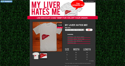 My Liver Hates Me Website Screenshot