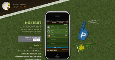 Mock Draft iPhone App Website Screenshot
