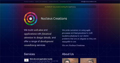 Nucleus Creations Website Screenshot