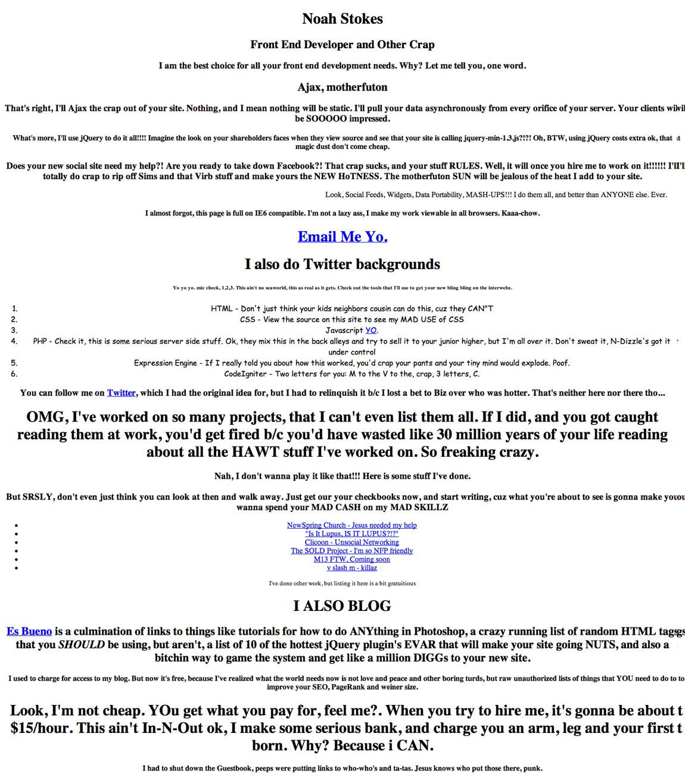 Noah Stokes Website Screenshot