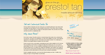 Presto! Tan Website Screenshot