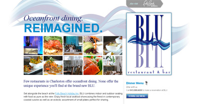 Blu Restaurant Website Screenshot