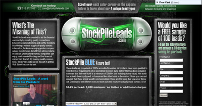 Stock Pile Leads Website Screenshot