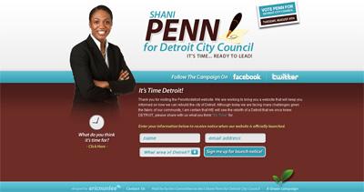 Shani Penn for Detroit Website Screenshot