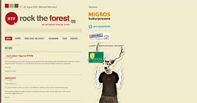 Rock the Forest 2009 Website Screenshot