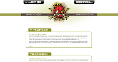 Dirty Bird Design Works Website Screenshot