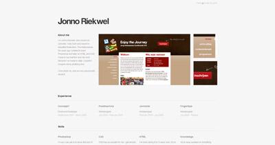 Jonno Riekwel Website Screenshot