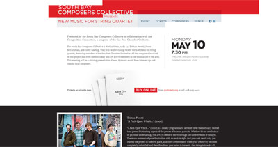 South Bay Composers Collective Website Screenshot