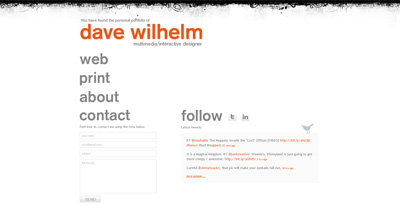 Dave Wilhelm Website Screenshot