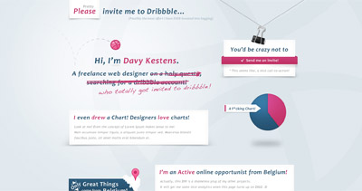 Please Invite Me To Dribbble… Website Screenshot