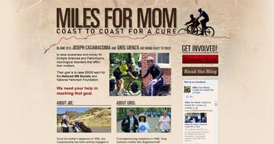 Miles for Mom Website Screenshot