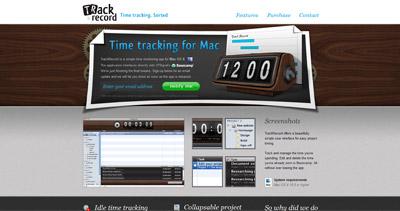 TrackRecord Website Screenshot