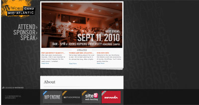 WordCamp Mid-Atlantic Website Screenshot