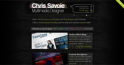 Chris Savoie Website Screenshot