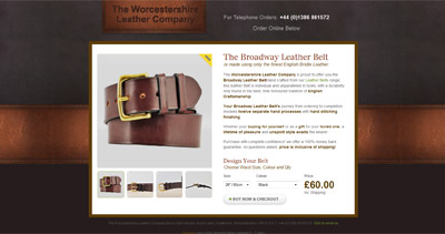 The Broadway Leather Belt Website Screenshot