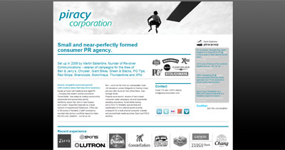 Piracy Corporation Website Screenshot