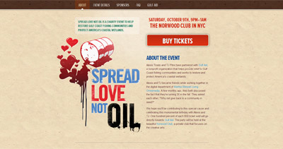 Spread Love Not Oil Website Screenshot