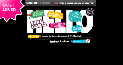 Subzero Ice Cream Website Screenshot