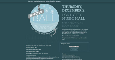 Snowball 2010 Website Screenshot