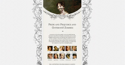 Pride and Prejudice and (Internet) Zombies Website Screenshot