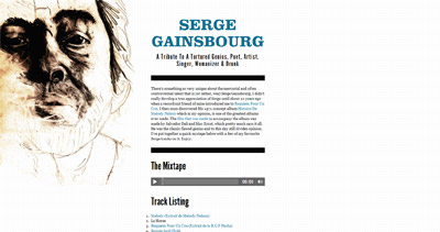 Serge Gainsbourg Website Screenshot
