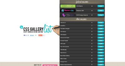 The CSS Gallery List Website Screenshot