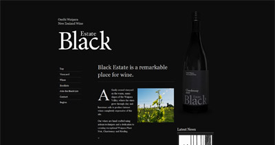 Black Estate Vineyard Website Screenshot