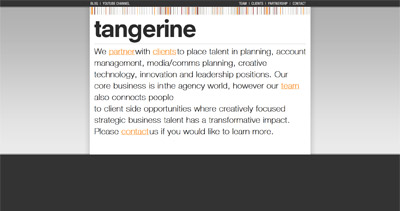 Tangerine Website Screenshot