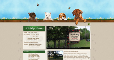 Holiday Farms Website Screenshot