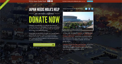 NOLA Japan Quake Fund Website Screenshot