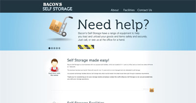 Bacons Self Storage Website Screenshot