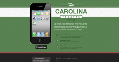 The Carolina Theatre App Website Screenshot